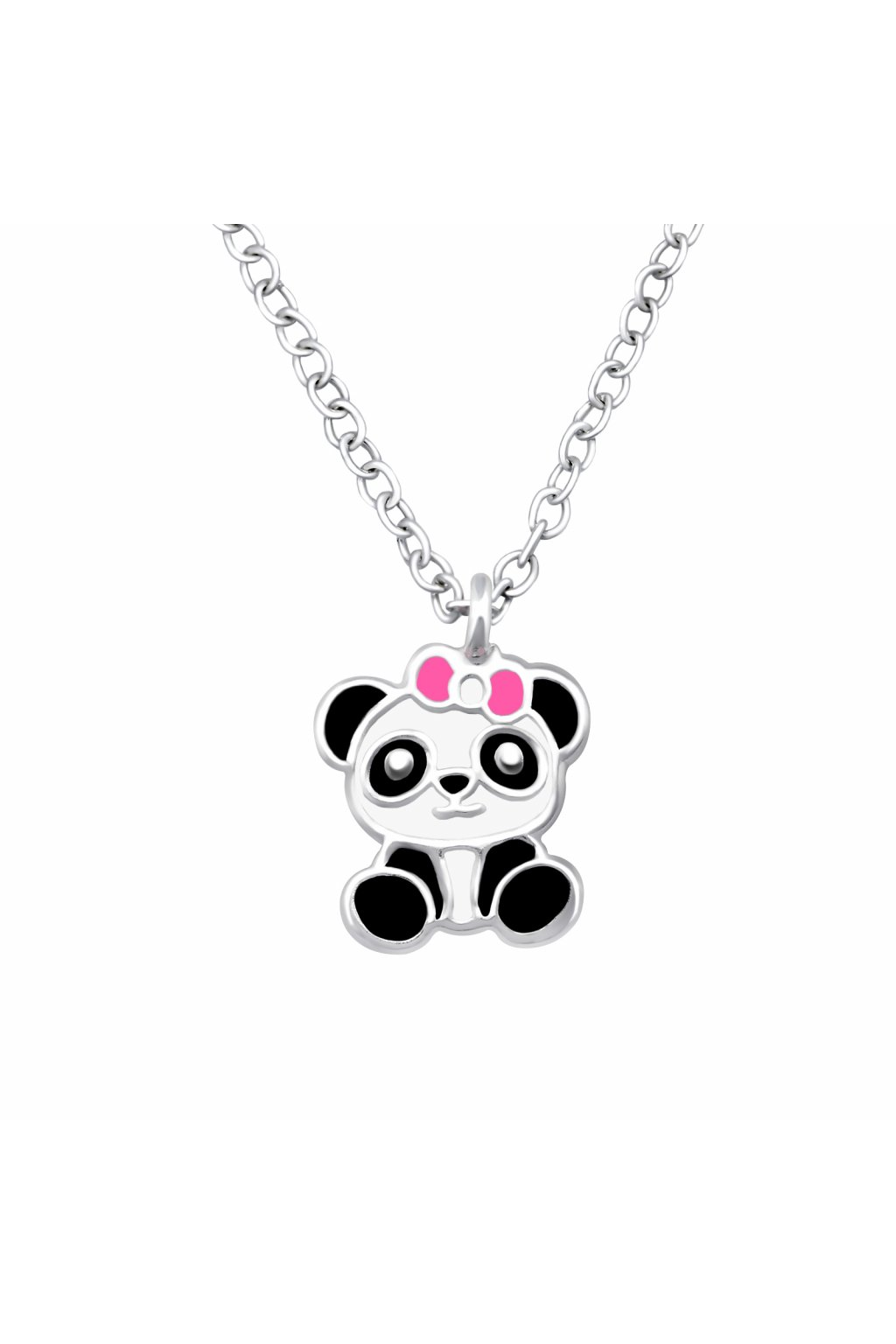 Stříbrný dětský náhrdelník panda