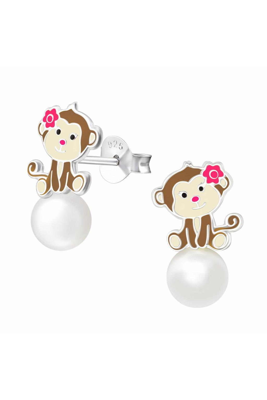 Stříbrné dětské náušnice opička - puzet