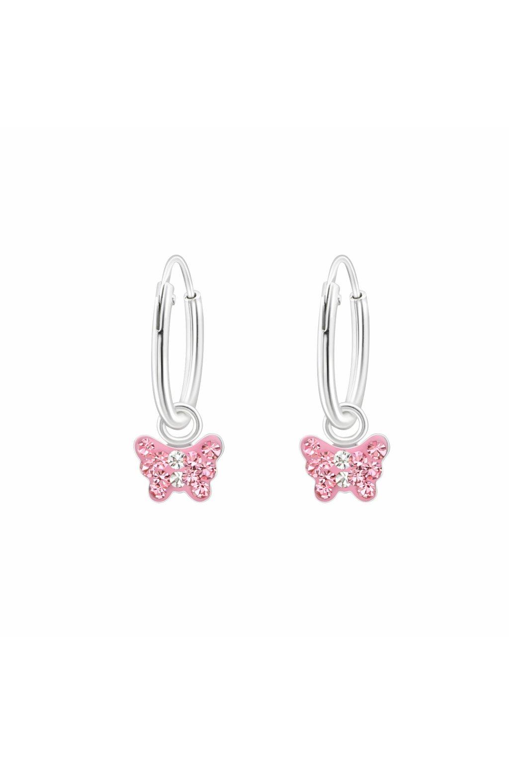 Stříbrné dětské náušnice růžový motýlek s kameny
