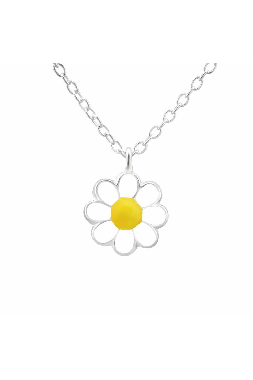 Stříbrný dětský náhrdelník kopretina
