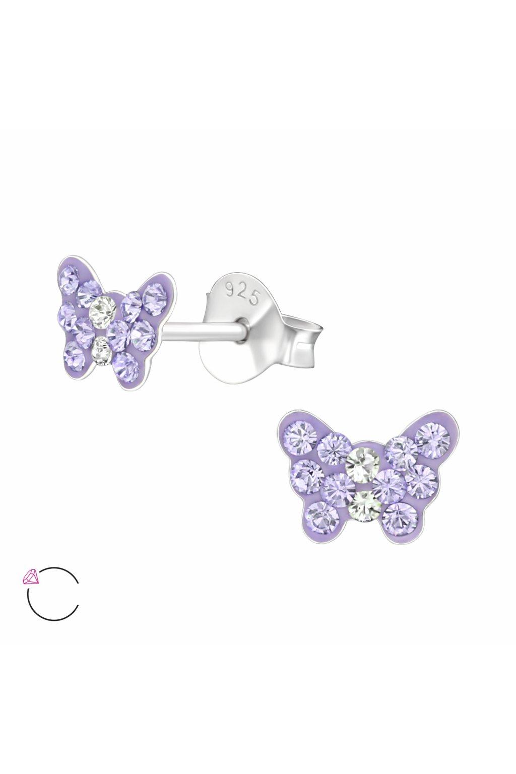 Stříbrné dětské náušnice puzet motýlek Swarovski